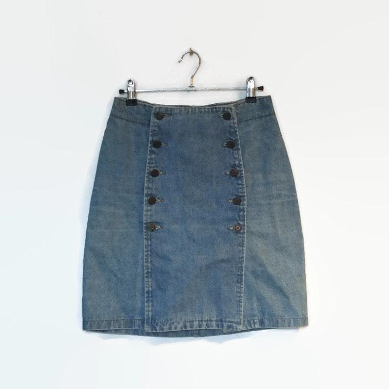 175b8fc06 bouton vintage en jupe en Jean, jupe crayon taille haute, blanchi jean bleu  clair, rangée de deux boutons, grunge, hipster 90 s 80 s
