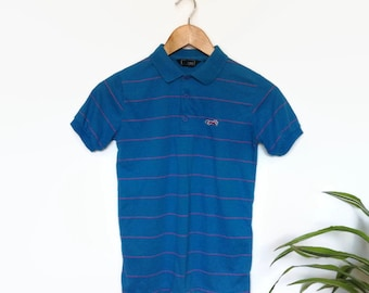 JCPenney The Fox vintage polo, striped blue and pink polo shirt, short sleeves collared t-shirt, junior L, nerdy, normcore, prep athleisure