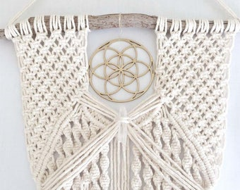 macrame wall hanging with Seed of Life + Clear Quartz crystal || on driftwood || sacred geometry art || inspiring wall art || sacred art