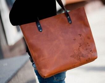 Shopping bag, leather shoulder bag, women leather tote bag, personalized bag, shopper bag, engraved bag, women's handbag, monogrammed bag