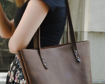 Brown laptop tote Brown leather tote leather tote bag women's leather tote notebook tote bag for laptop women's bag leather laptop tote