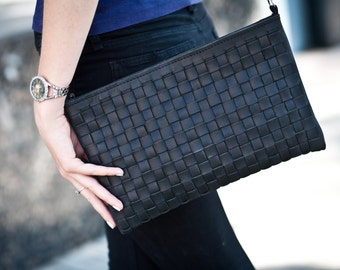 Wowen leather bag  shoulder bags crossbody bag woven leather bag black leather handbag gift for her leather crossbody woven crossbody woven