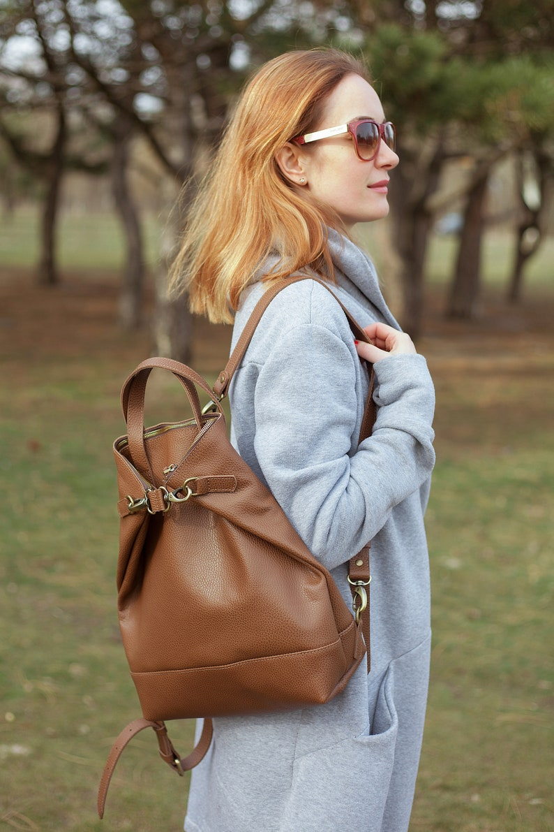 Leather backpack women leather women backpack fashion image 1