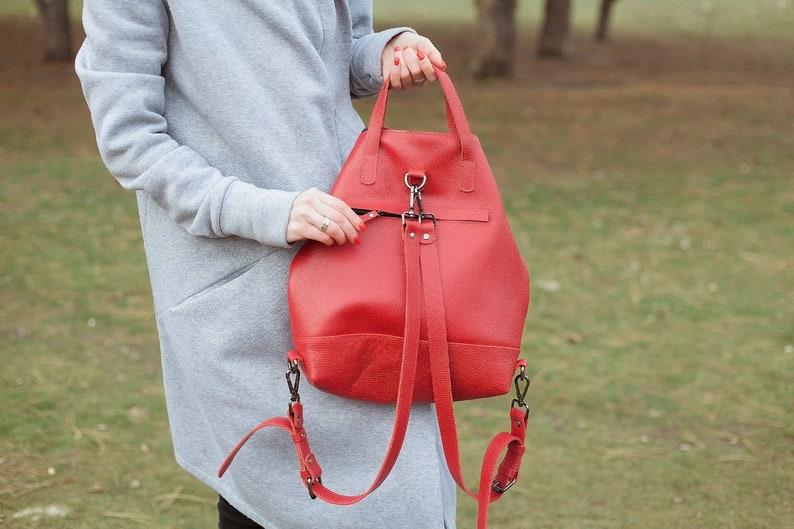 Red Leather backpack women leather handbag leather shoulder bag