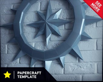 Papercraft Compass Wall Decor Paper sculptures DIY Low Polygon DIY Gift Papercraft PDF Paper Craft Trophy Low Poly Craft Paper Template