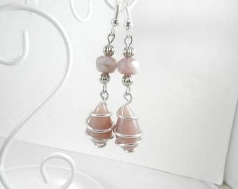 Ohrringe Silber Pink rosa Ohrringe Perlen, alte Lötlampe, böhmische Ohrringe, Schmuck für die Frau