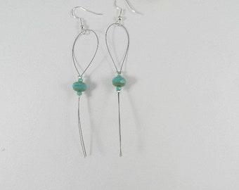 Earrings silver, long earrings, dangle earrings Turquoise Silver earrings, women
