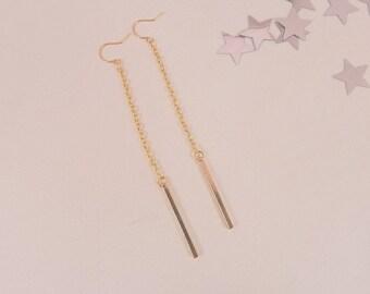 Gold minimalist earrings, dangle earrings gold, long earrings, women dangle earrings