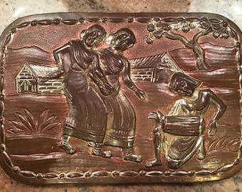 Vintage Copper Asian Scene Relief Plaque