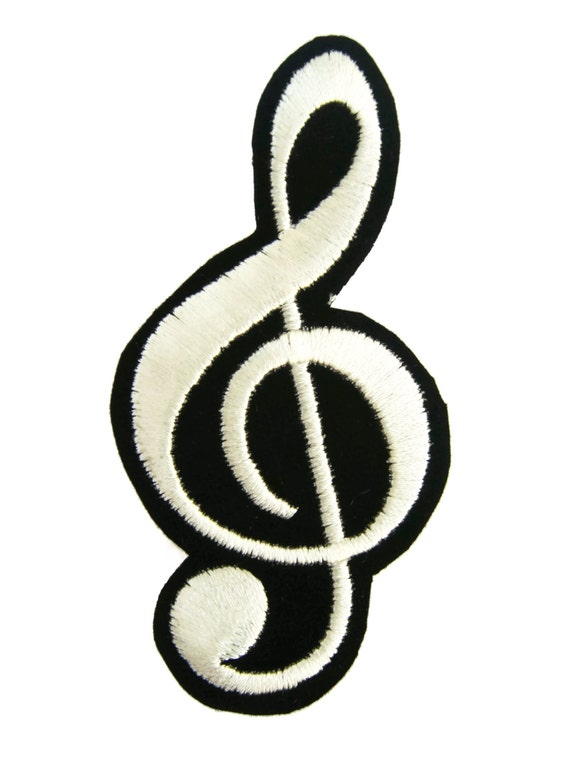 G Clef Music Note Symbol Embroidered Applique Iron On Patch Etsy