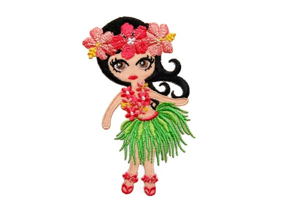 Girl hawaii patch beach embroidered sew applique iron on etsy