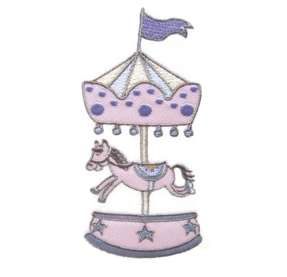 Amusement Park Merry-Go-Round Iron On Patch Roundabout Carousel