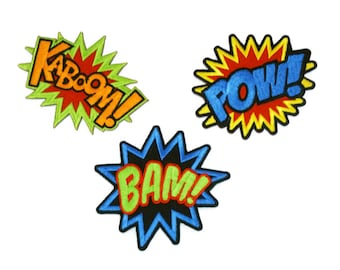 Kaboom / Bam / Pow DC MARVEL Comic Super Hero Sound Fx Embroidered Applique Iron on Patch