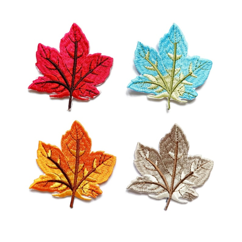 Maple Leaf Leaves Patch Embroidered Sew Applique Iron on Patches for Jacket  Bag Clothes