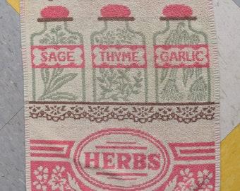 Splendid Vintage kitchen towel - Herbs - retro Kitchen 70s / 80s