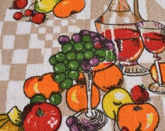 Unused Vintage tea towel with fruits & Wine. Retro towelling