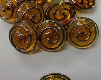 Czech Topaz Amber Glass Copper Swirl 14mm / one half inch round Vintage Button
