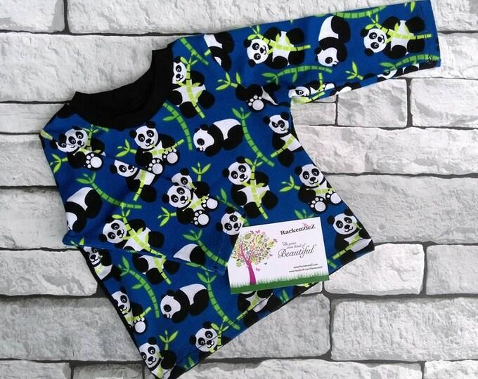 0-3 months long sleeve panda t-shirt