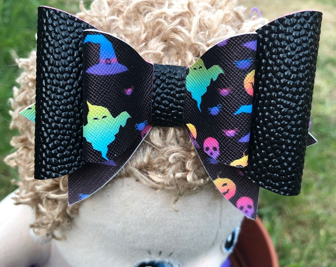 Large Black Halloween Ghost Pumpkin Witches Skulls Rainbow Hair Bow 4 inches