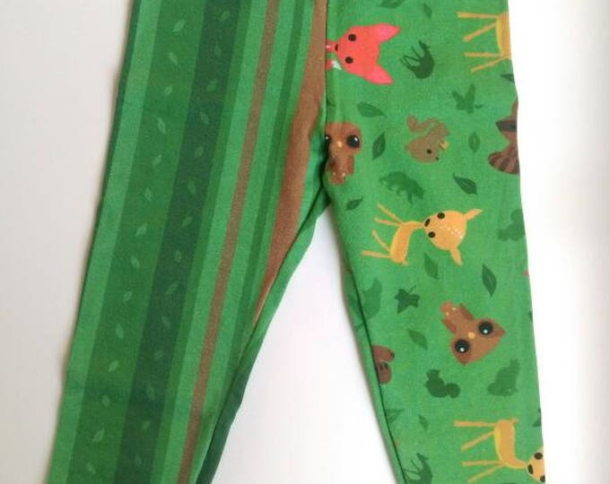 12-18 months woodland leggings with orange bands by RackenzieZ