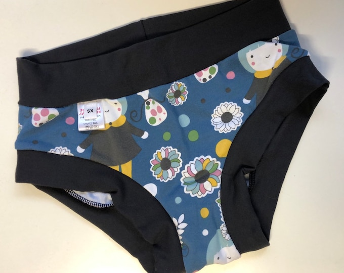 Floral girl Underwear Briefs. Size XS 4-6. Made by RackenzieZ