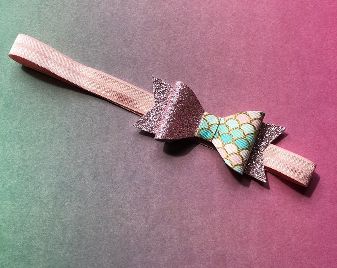 Small Pink And Blue Scales Mermaid Hair Bow Band