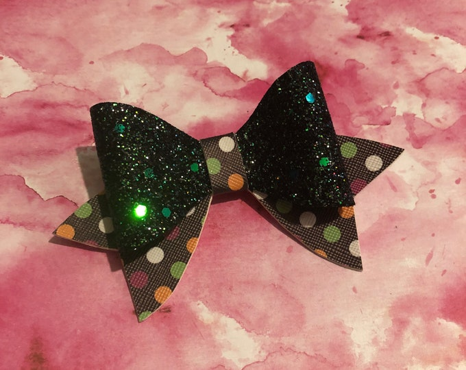 Green Glitter Spotty Hair Bow 3inches