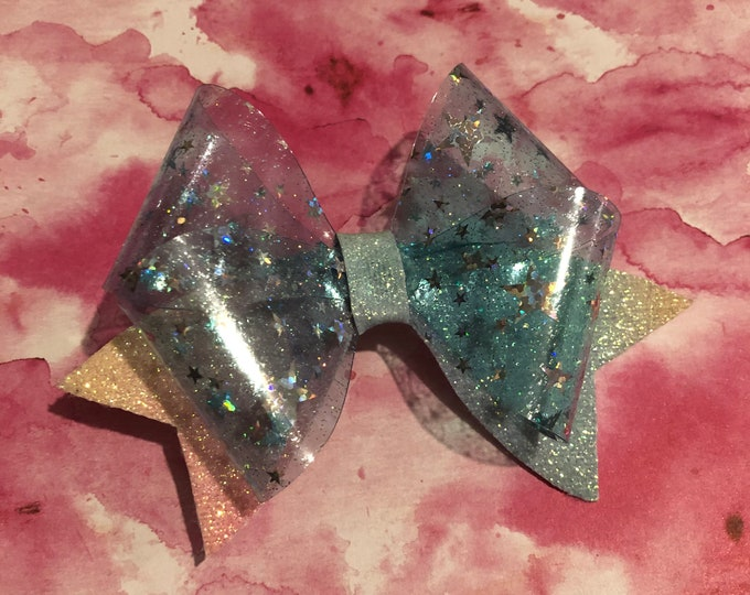 Clear Blue Shiny Star Hair Bow 3.5inches
