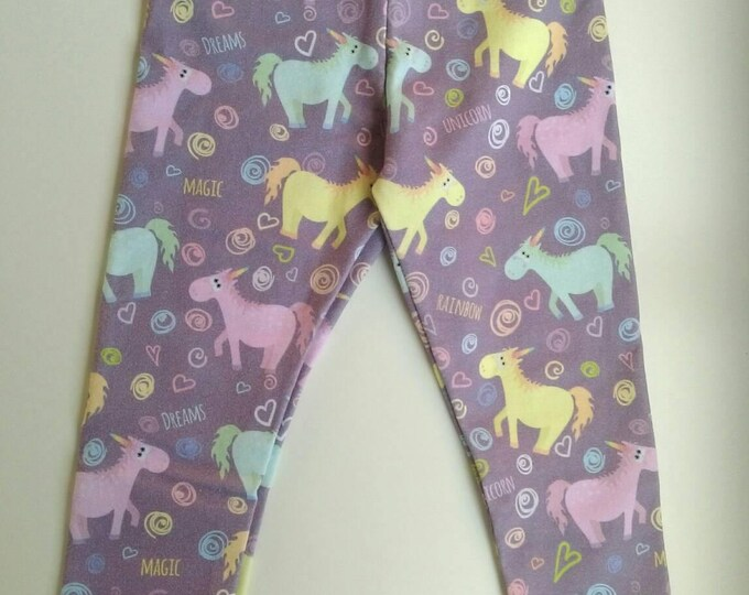 18-24 months pink unicorn leggings with yellow bands by RackenzieZ