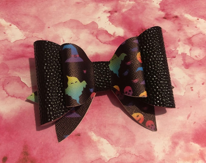 Black Halloween Double Hair Bow 4inches