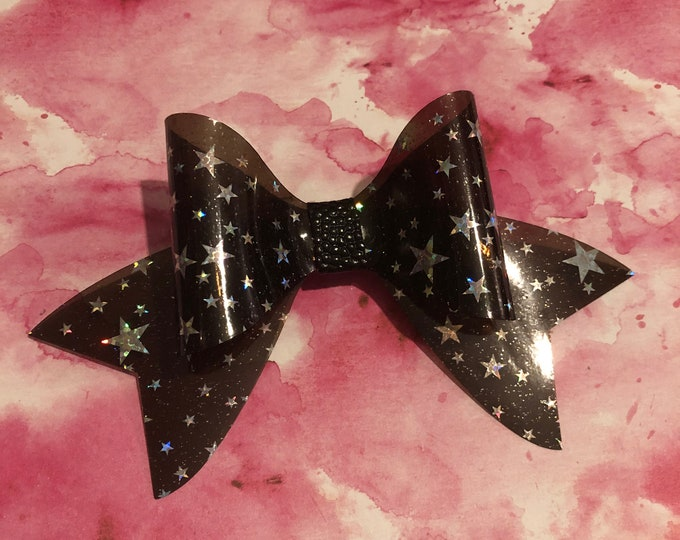 Clear Black Shiny Star Hair Bow 3inches