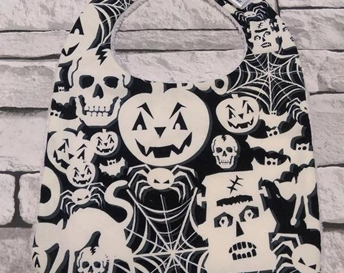 Halloween, glow in the dark print, baby bib. One size