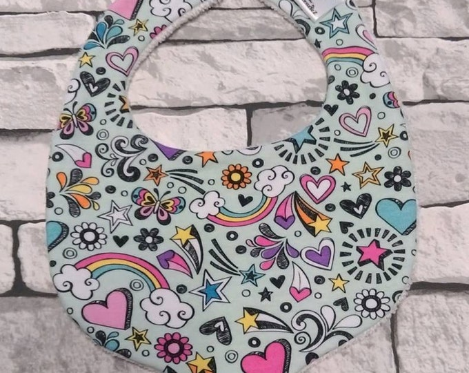 Doodle print, baby jersey bib. One size