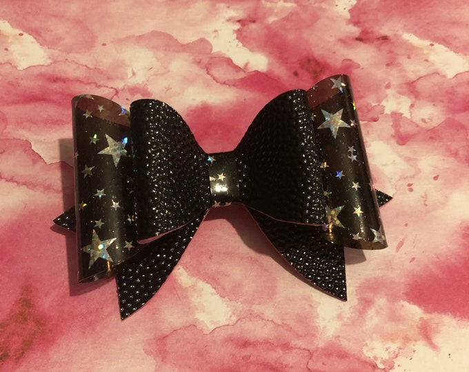 Black and Clear Shiny Star Double Hair Bow 3.5inches
