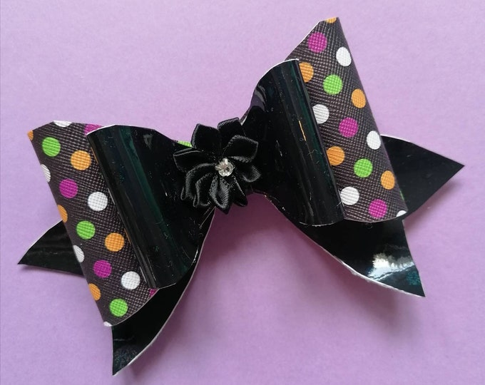 Large Black Spotty Hair Bow 3.5 inches