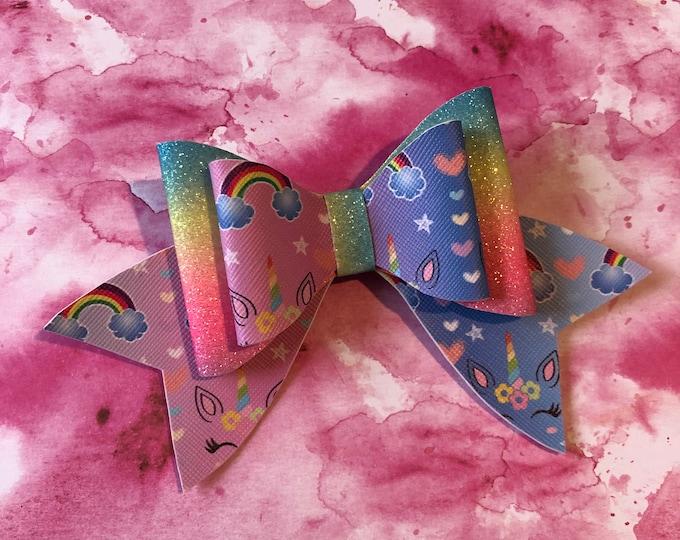 Rainbow Ombré Unicorn Double Hair Bow 3inches