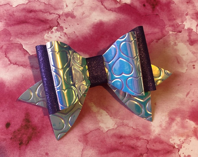 Purple Heart Glitter Double Hair Bow 3inches