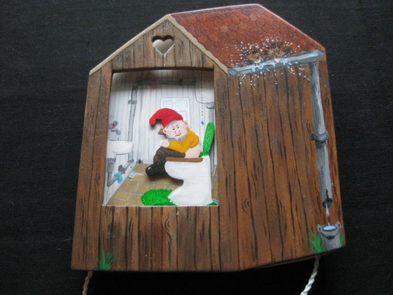WC dwarf, original toilet sign, free/busy, bathroom decoration, door sign,  moving wooden image,.