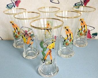 1950s - Harvesting - Tall - Illustrative - Drinking Glasses