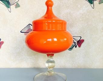 1960s - Orange - Glass - Bon Bon Jar