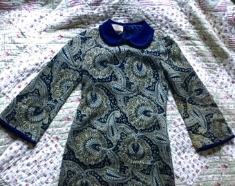 1960s Blue and Green Paisley Liontree Wool Fully Lined Mini Dress