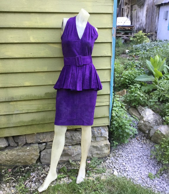 1980s Purple Suede Pia Rucci Halter Dress with a P