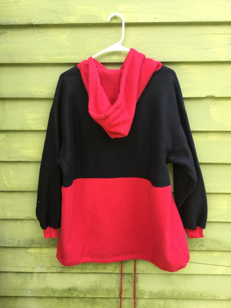 1990s Early 200os Harbural Brand Minimalist Red and Black Color Blocked Plus Size Fleece Pullover Anorak XL