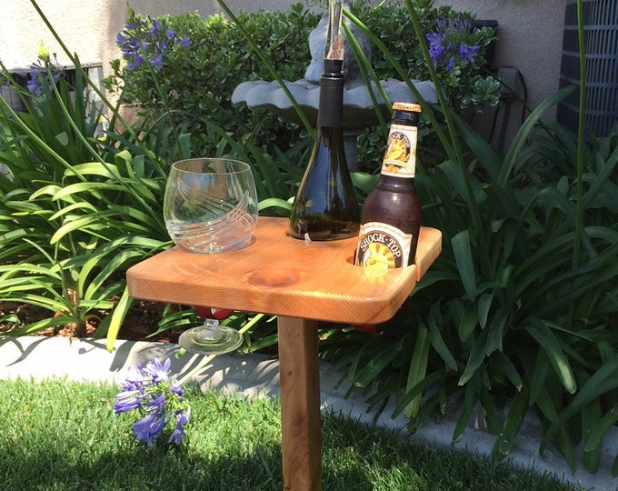 Square Wine Table with Metal Stand by D&C Designs