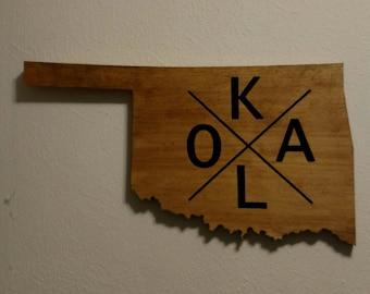 OKLA Oklahoma Map Cutout Wooden Sign