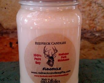 16oz FUDGSICLE Pure Soy Dye Free Square Mason Jar Candle With A Camo Lid