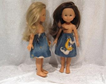 "LES CHERIES Corolle 13"" Dolls Handmade Elastic Waist Skirt  #S02 Halloween Elastic Waist SKIRT with Ghost & Moon"