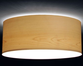 ceiling lamp, D.60 cm, birch-tree veneer