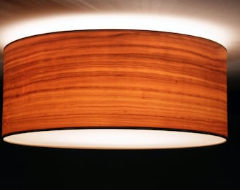 Ceiling lamp, D.40 cm, cherry-wood veneer