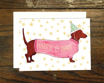 Wiener Dog Birthday Card